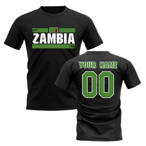 Personalised Zambia Fan Football T-Shirt (black)