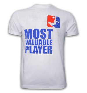 Mens Most Valuable Player Basic T and White 100% cotton