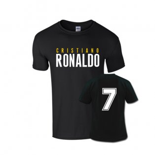 Cristiano Ronaldo Front Name T-shirt (black) - Kids