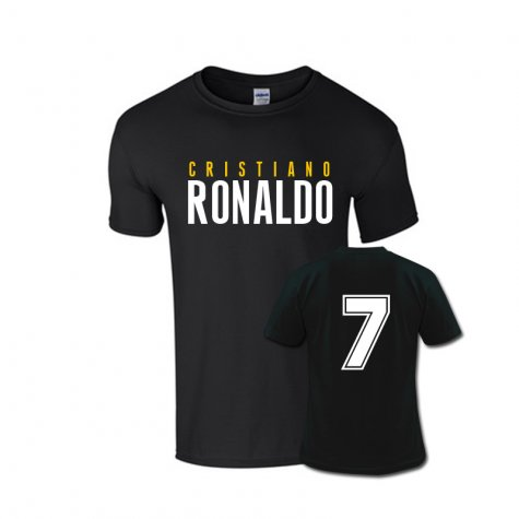 Cristiano Ronaldo Front Name T-shirt (black) - Kids