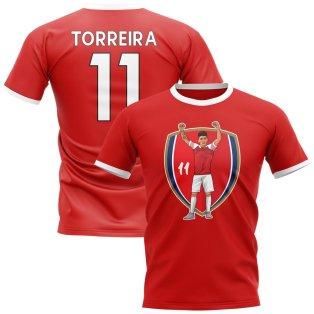 Lucas Torreira Arsenal Crest Ringer Tee (Red)