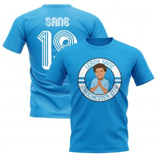 Leroy Sane Man City Illustration T-Shirt (Sky Blue)