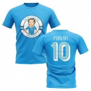 Diego Forlan Uruguay Illustration T-Shirt (Sky Blue)