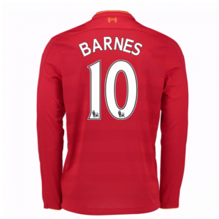 2016-17 Liverpool Home Long Sleeve Shirt (Barnes 10) - Kids