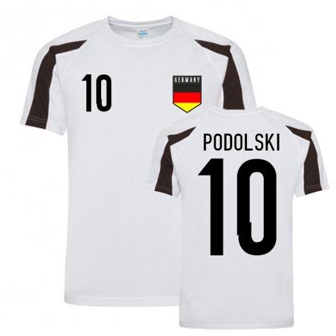 Lukas Podolski Germany Sports Training Jersey (White-Black)