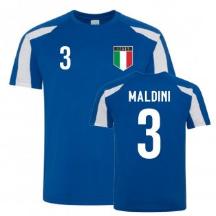 Paolo Maldini Italy Sports Training Jersey (Blue-White)