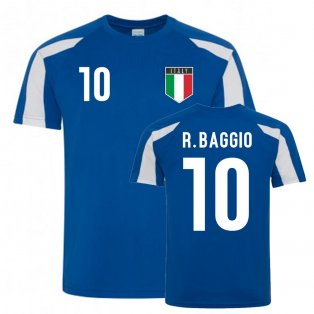Roberto Baggio Italy Sports Training Jersey (Blue-White)