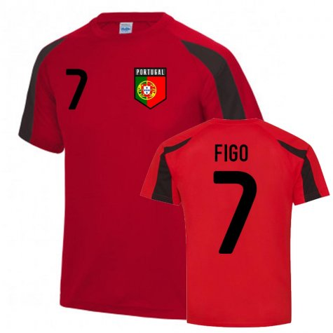 Luis Figo Portugal Sports Training Jersey (Red-Black)