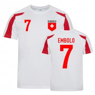 Breel Embolo Switzerland Sports Training Jersey (White-Red)
