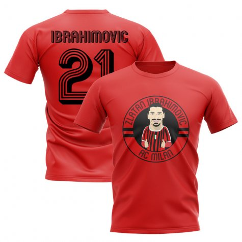 Zlatan Ibrahimovic AC Milan Illusration T-Shirt (Red)