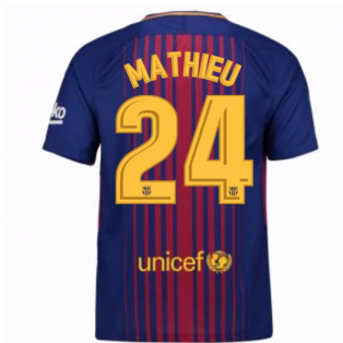 2017-2018 Barcelona Home Shirt (Mathieu 24) - Kids