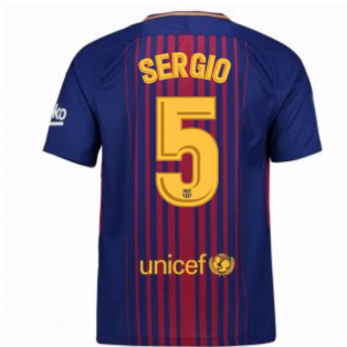 2017-2018 Barcelona Home Shirt (Sergio 5) - Kids