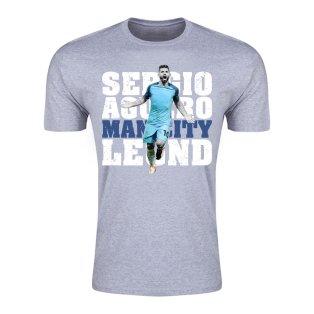 Sergio Aguero Man City Legend T-Shirt (Grey) - Kids