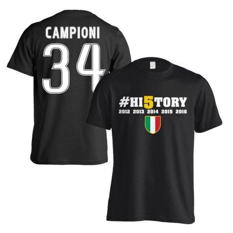 Juventus History Winners T-Shirt (Campioni 34) Black - Kids