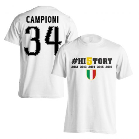 Juventus History Winners T-Shirt (Campioni 34) White - Kids