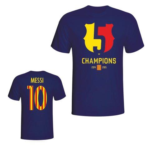 Barcelona 2015 Lionel Messi Champions Tee (Navy)