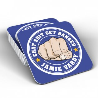 Leicester City Jamie Vardy Chat Banged Coaster (Blue)
