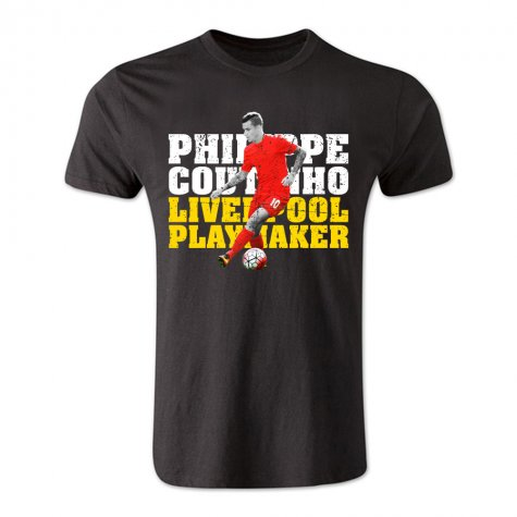 Philippe Coutinho Liverpool Playmaker T-Shirt (Black)