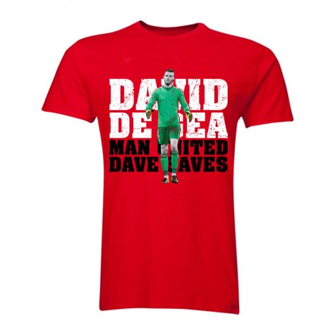 David De Gea Man United Goalkeeper T-Shirt (Red) - Kids
