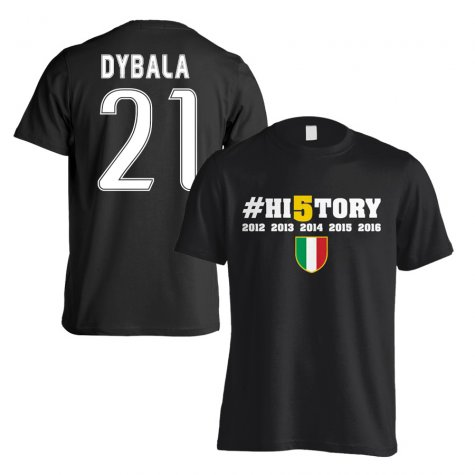 Juventus History Winners T-Shirt (Dybala 21) Black - Kids