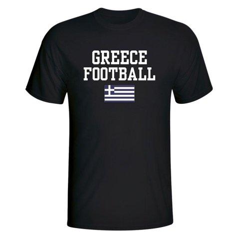 Greece Football T-Shirt - Black