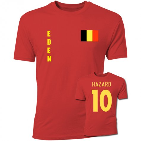 Eden Hazard Belgium Flag T-Shirt (Red)