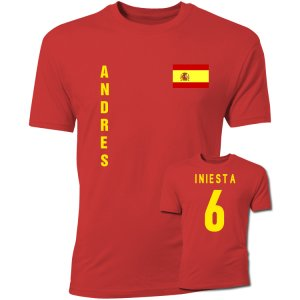 Andres Iniesta Spain Flag T-Shirt (Red)
