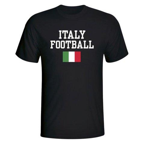 Italy Football T-Shirt - Black