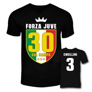 Juventus Scudetto 30 Sul Campo T-Shirt (Black) - Chiellini 3