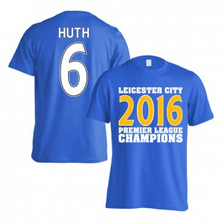 Leicester City 2016 Premier League Champions T-Shirt (Huth 6) Blue - Kids