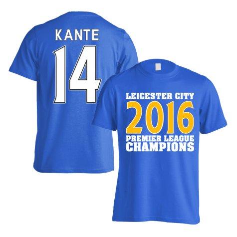Leicester City 2016 Premier League Champions T-Shirt (Kante 14) Blue