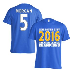 Leicester City 2016 Premier League Champions T-Shirt (Morgan 5) Blue