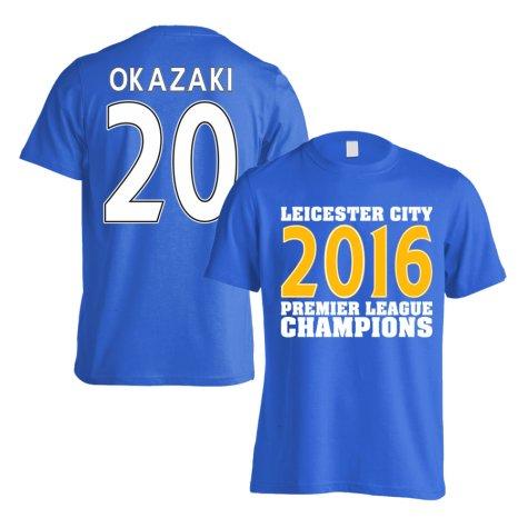 Leicester City 2016 Premier League Champions T-Shirt (Okazaki 20) Blue - Kids