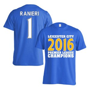 Leicester City 2016 Premier League Champions T-Shirt (Ranieri 1) Blue - Kids