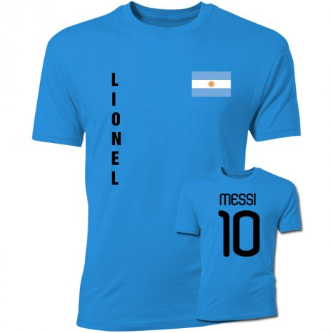 Lionel Messi Argentina Flag T-Shirt (Blue)