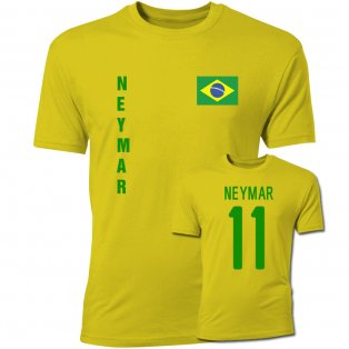 Neymar Brazil Flag T-Shirt (Yellow)