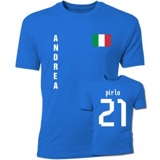 Andrea Pirlo Italy Flag T-Shirt (Blue)