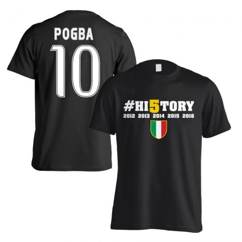 Juventus History Winners T-Shirt (Pogba 10) Black - Kids