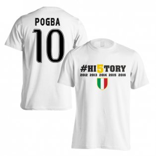Juventus History Winners T-Shirt (Pogba 10) White - Kids