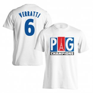 PSG Champions T-Shirt (Verratti 6) - White (Kids)