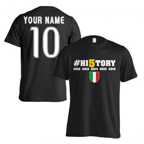 Juventus History Winners T-Shirt (Your Name) - Black