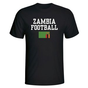 Zambia Football T-Shirt - Black