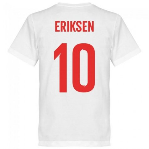 Denmark Eriksen 10 Team T-Shirt - White
