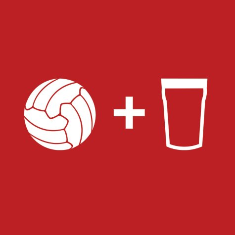 Beer and Football T-Shirt (Red-White)