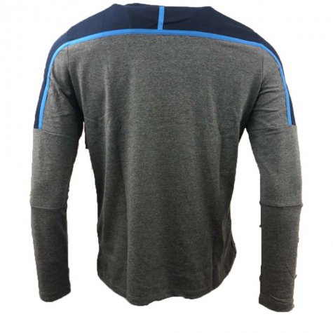 2018-2019 Scotland Macron Rugby Long Sleeve Travel Polycotton T-Shirt (Charcoal)