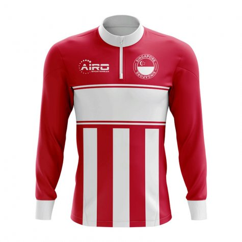 Singapore Concept Football Half Zip Midlayer Top (Red-White)