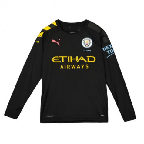 2019-2020 Manchester City Puma Away Long Sleeve Shirt (Kids) (Your Name)