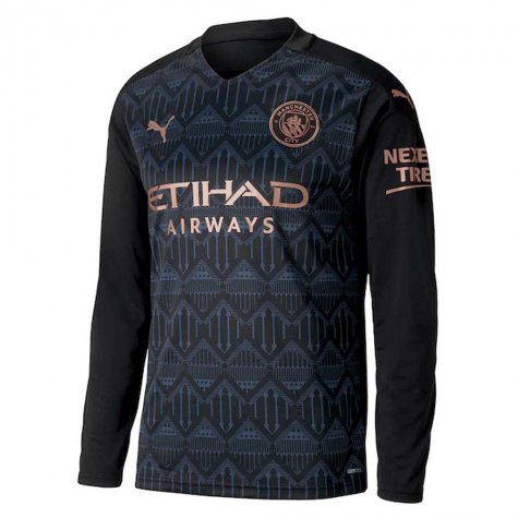2020-2021 Manchester City Puma Away Long Sleeve Shirt (KOMPANY 4)