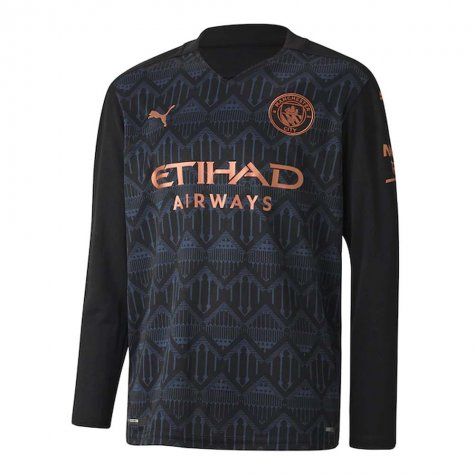 2020-2021 Manchester City Puma Away Long Sleeve Shirt (Kids) (MENDY 22)