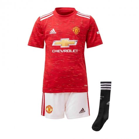 2020-2021 Man Utd Adidas Home Little Boys Mini Kit (SOLSKJAER 20)